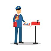 Postman in blue uniform putting letters in mailbox, cartoon character vector Illustration