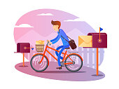 Postman on bicycle delivers letters