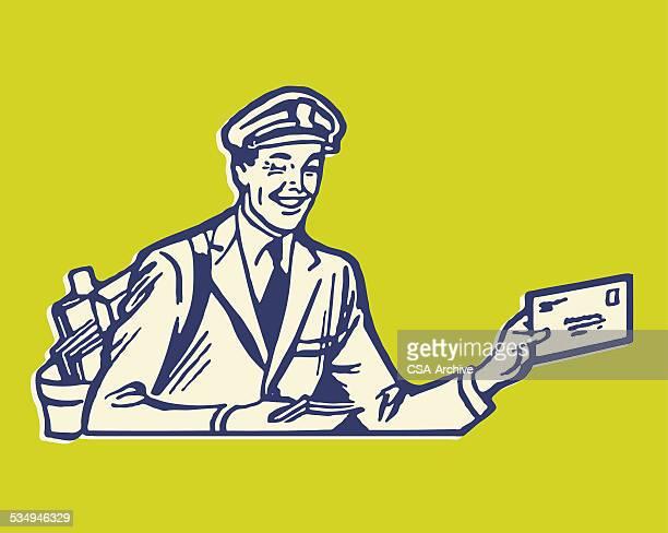 illustrations, cliparts, dessins animés et icônes de postman avec vocale - facteur