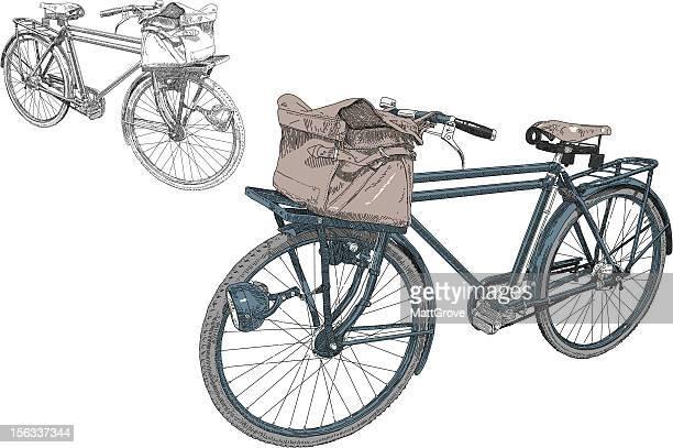 illustrations, cliparts, dessins animés et icônes de facteur de vélo - facteur