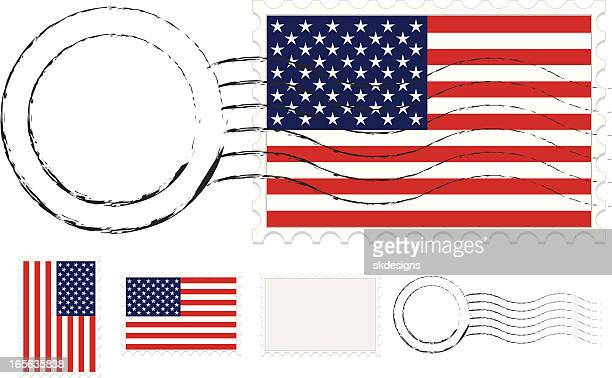 postmark, postage stamps set with american flags and extra blanks - postmark stock illustrations