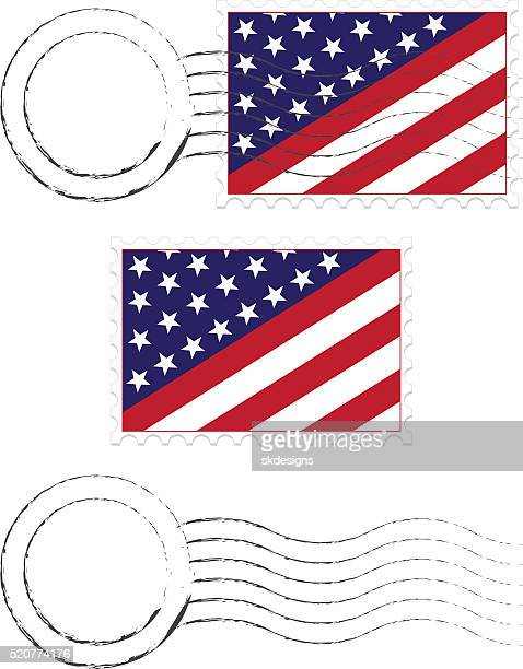 postmark, postage stamps set with american flags and extra blanks - post office stock illustrations