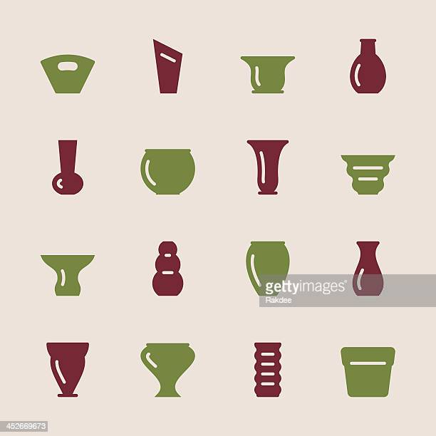 pot and vase icons set 1 - color series - ceramics stock illustrations, clip art, cartoons, & icons