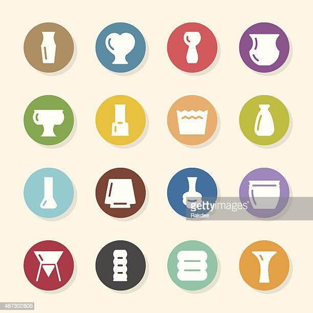 pot and vase icons set 2 - color circle series - ceramics stock illustrations, clip art, cartoons, & icons