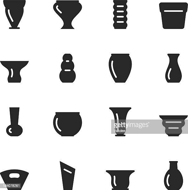 pot and vase silhouette icons | set 1 - pottery stock illustrations, clip art, cartoons, & icons