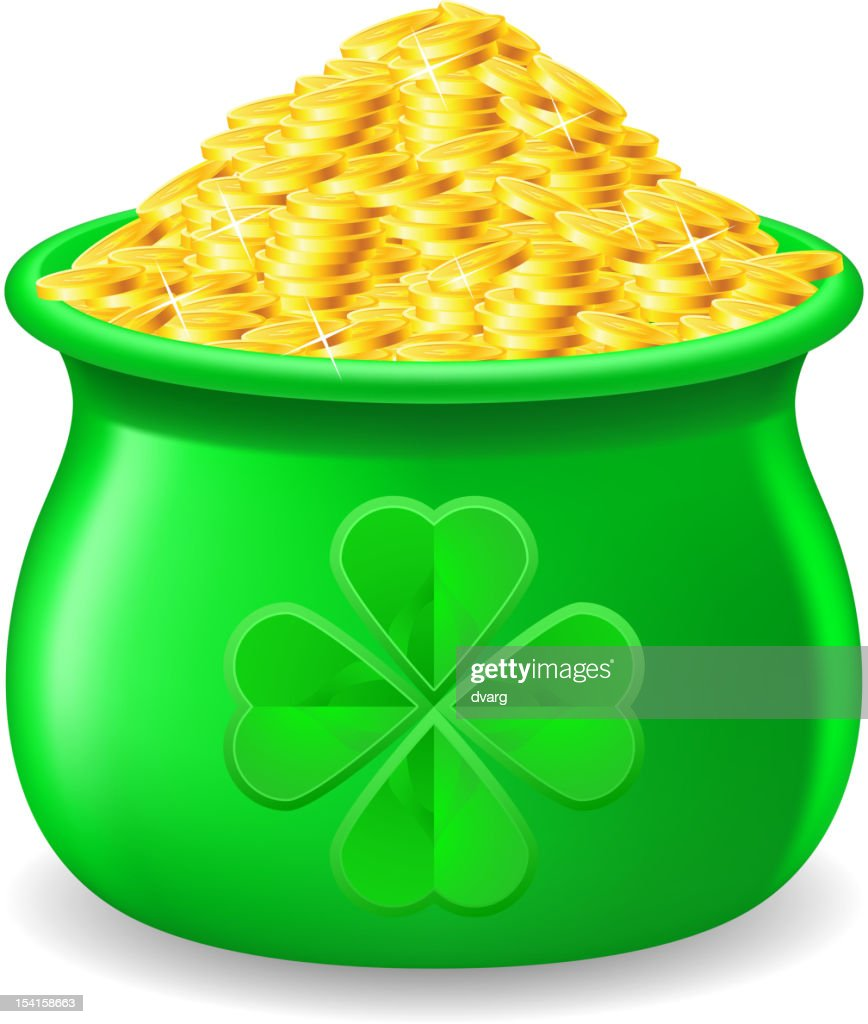 Pot full of gold coin