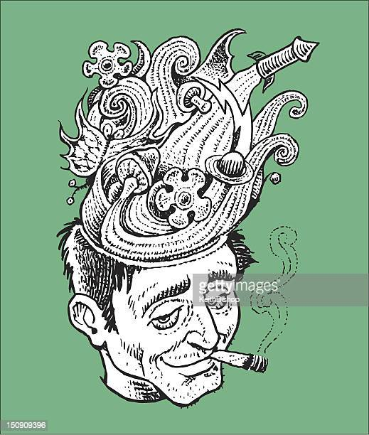 pot head - recreational drug stock illustrations, clip art, cartoons, & icons