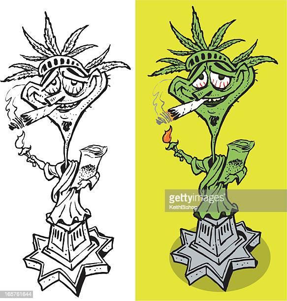 ilustrações, clipart, desenhos animados e ícones de panela cabeça s'unem! a estátua da liberdade doobie - baseado