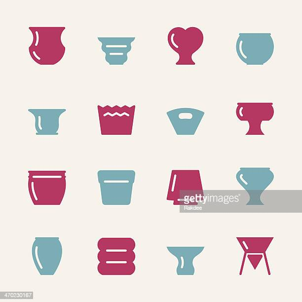 pot icons - color series - pottery stock illustrations, clip art, cartoons, & icons