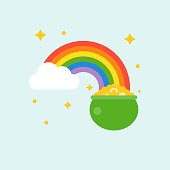pot of gold at end of rainbow , st patrick's day flat design icon