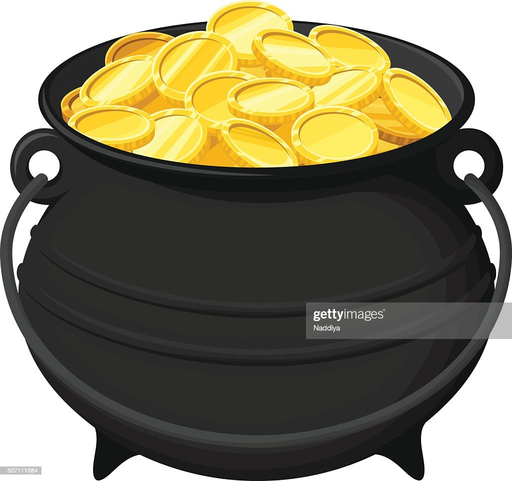 Pot of gold coins isolated on white. Vector illustration.