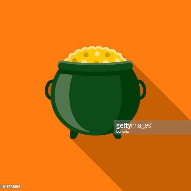 pot of gold flat design st. patrick's day icon - cauldron stock illustrations, clip art, cartoons, & icons