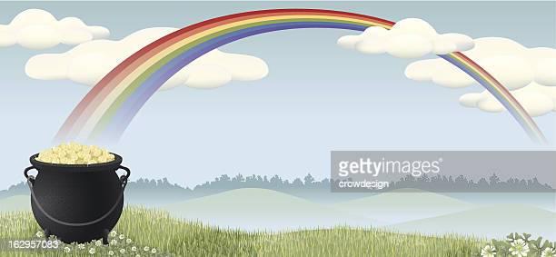 pot of gold landscape with rainbow - treelined stock illustrations, clip art, cartoons, & icons