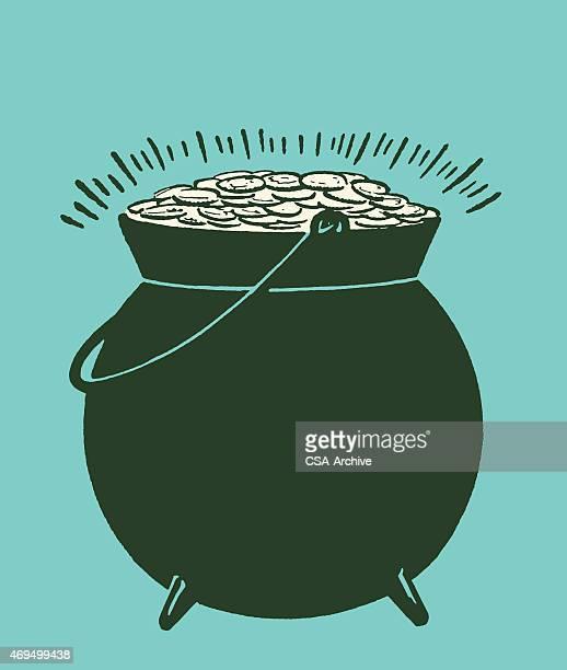 pot of gold - cauldron stock illustrations, clip art, cartoons, & icons