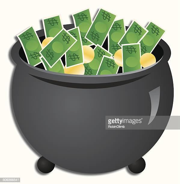 pot of money - cauldron stock illustrations, clip art, cartoons, & icons