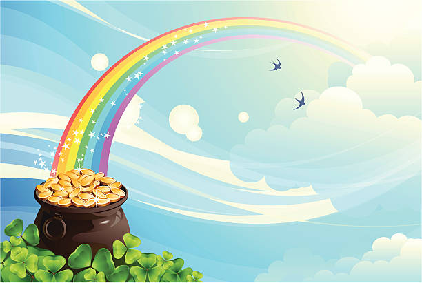 pot with coins - rainbow stock illustrations