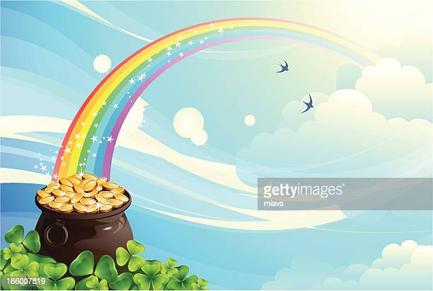 pot with coins - rainbow stock illustrations, clip art, cartoons, & icons