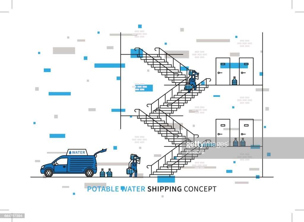 Potable water shipping vector illustration