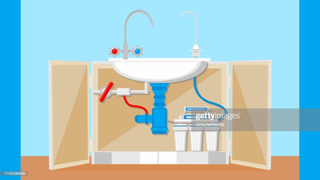 Potable Water Treatment System Vector Illustration