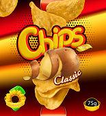 Potato chips. Design packaging, 3d vector template