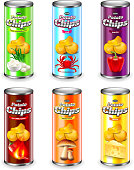 Potato chips tube packaging six flavors 3d vector set