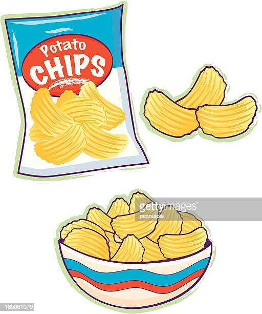 potato chips - unhealthy eating stock illustrations