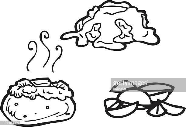 ilustraciones, imágenes clip art, dibujos animados e iconos de stock de papas de arte - patatas preparadas