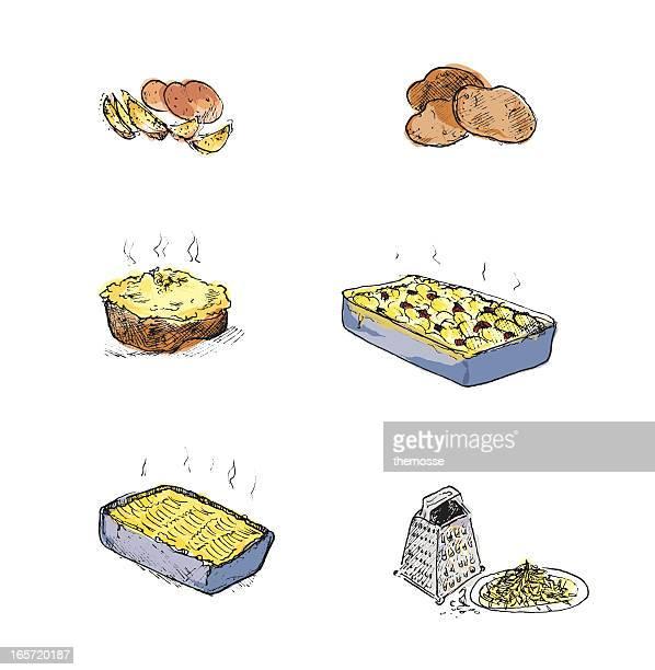Potatoes and potato dishes (hand drawn)