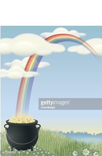 pot-of-gold with rainbow - jackpot stock illustrations, clip art, cartoons, & icons