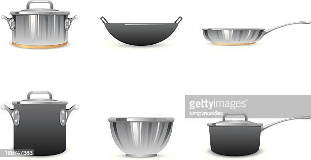 pots and pans icons - cooking pan stock illustrations