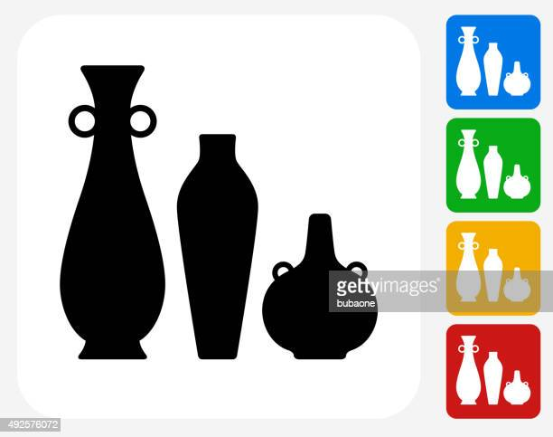 pots and vases icon flat graphic design - pottery stock illustrations, clip art, cartoons, & icons