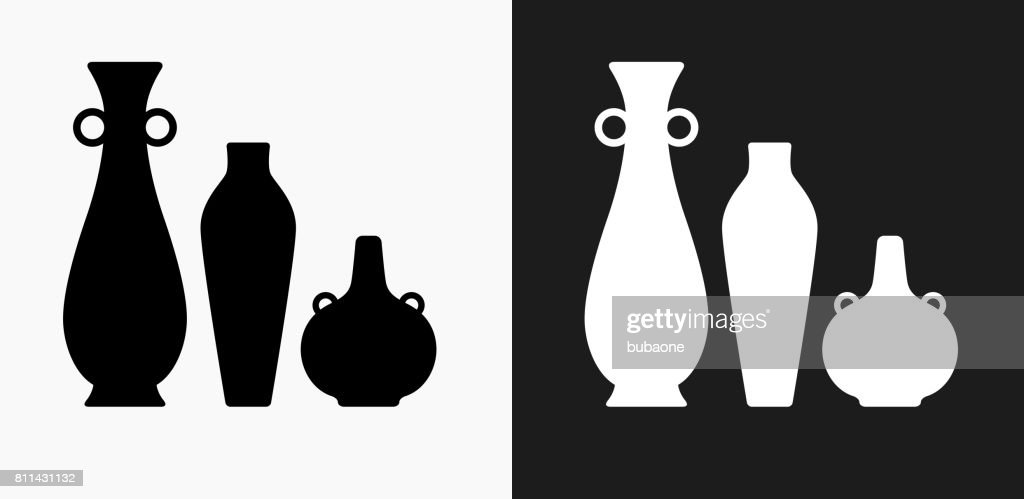 Pots And Vases Icon On Black And White Vector Backgrounds Vector Art