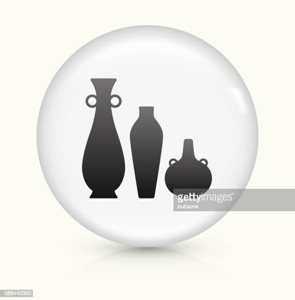 pots and vases icon on white round vector button - pottery stock illustrations, clip art, cartoons, & icons