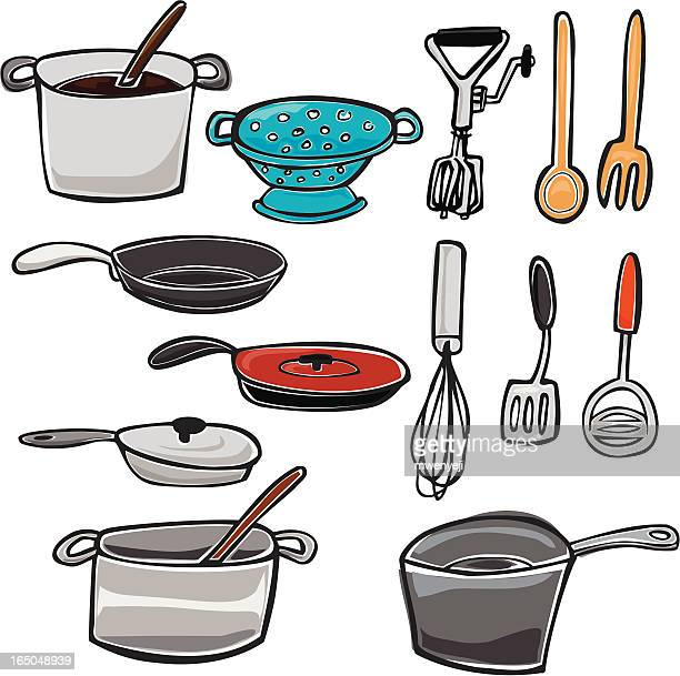 pots, pans, and other kitchen utensils - egg beater stock illustrations, clip art, cartoons, & icons