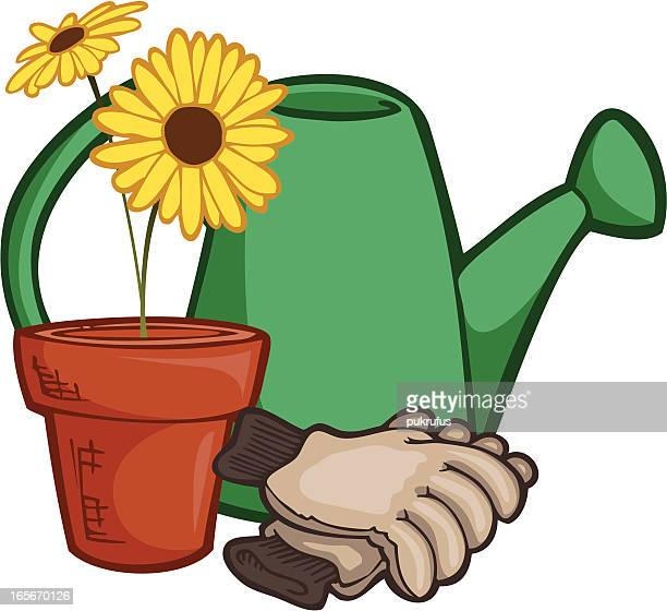 potted plant, watering can and work gloves - gardening glove stock illustrations, clip art, cartoons, & icons