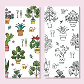 Potted plants. Vector illustration, floral background, pattern. Isolated on white background. For the flower shop.
