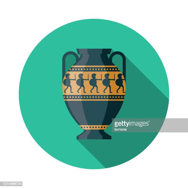 pottery design greece icon - archaeology stock illustrations