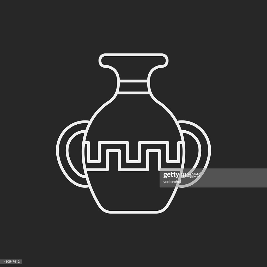 pottery line icon : Vector Art