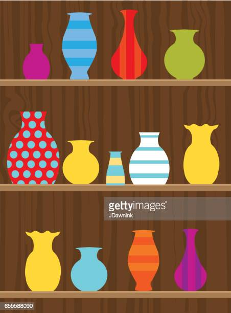 pottery on a wooden shelf - pottery stock illustrations, clip art, cartoons, & icons