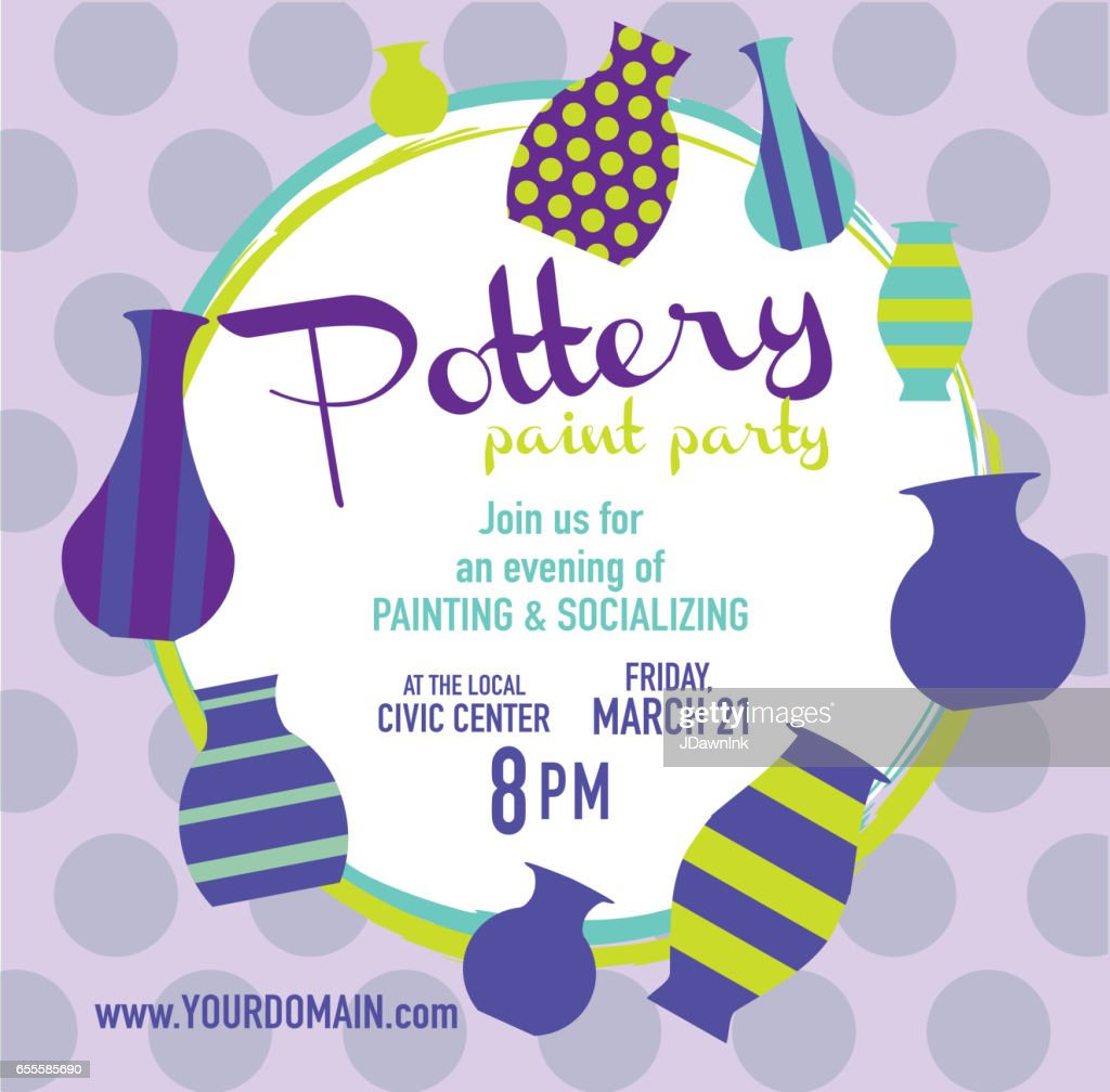 pottery paint party invitation design template vector art getty images