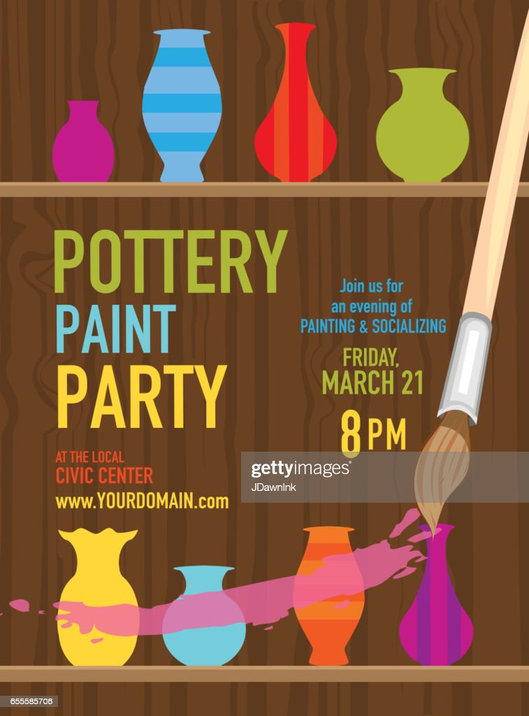 Pottery Paint Party Invitation Design Template Vector Art | Getty ...