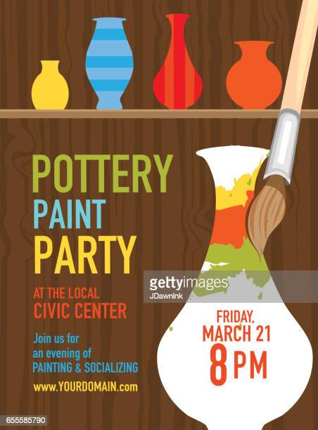 pottery paint party invitation design template - ceramics stock illustrations, clip art, cartoons, & icons