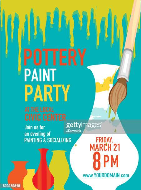 pottery party invitation design template - pottery stock illustrations, clip art, cartoons, & icons