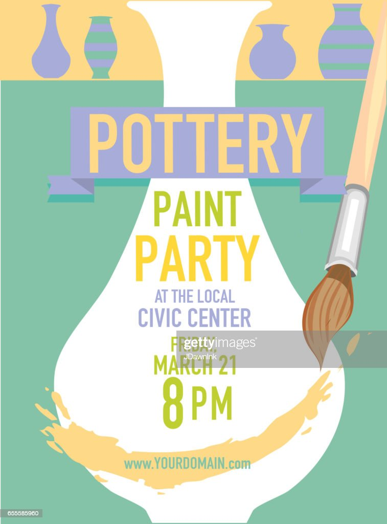 Pottery Party Invitation Design Template Vector Art | Getty Images