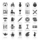 Pottery workshop, ceramics classes flat glyph icons. Clay studio signs. Hand building, sculpturing equipment - potter wheel, electric kiln, tools. Solid silhouette pixel perfect 64x64