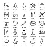 Pottery workshop, ceramics classes line icons. Clay studio tools signs. Hand building, sculpturing equipment - potter wheel, electric kiln, tools. Thin linear signs for art shop