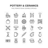 Pottery workshop, ceramics classes line icons. Clay studio tools signs. Hand building, sculpturing equipment - potter wheel, electric kiln, tools. Pixel perfect 64x64