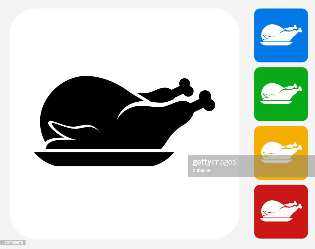 Poultry Dish Icon Flat Graphic Design