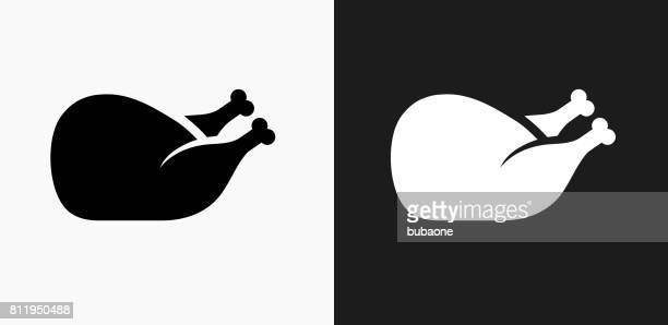 Poultry Icon on Black and White Vector Backgrounds