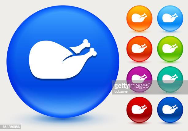 Poultry Icon on Shiny Color Circle Buttons
